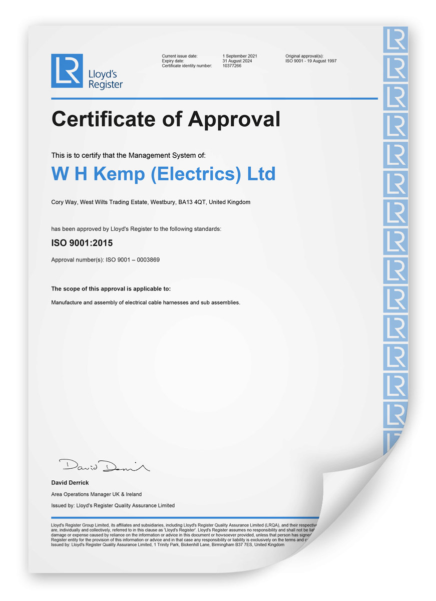 Wh Kemp Iso 9001 Wire Harness Accreditation 2021-2024