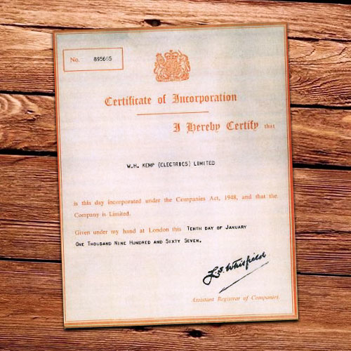 Wh Kemp Business Certificate 1967
